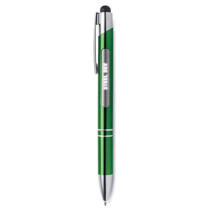 Aluminium stylus pen w/ light Bern Light - Green