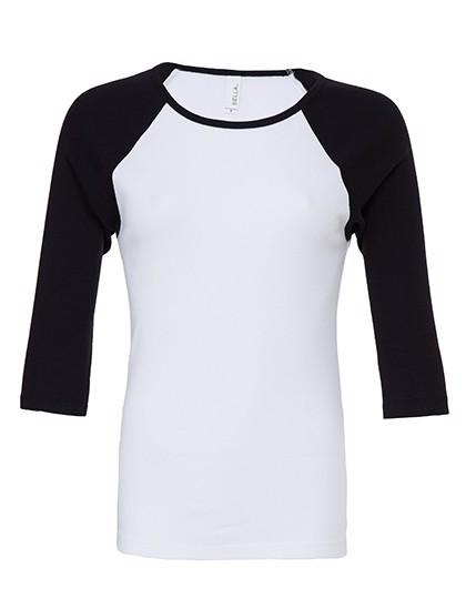 3/4-Sleeve Contrast Raglan T-Shirt - White / Black / S
