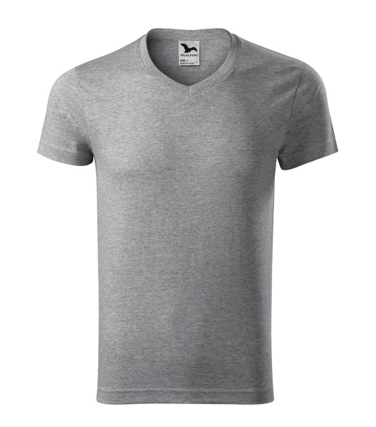 T-shirt men's Malfini Slim Fit V-neck - Dark Gray Melange / XL