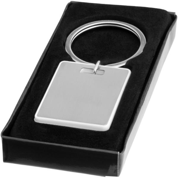 Donato rechteckiger Schlüsselanhänger - weiss / silber