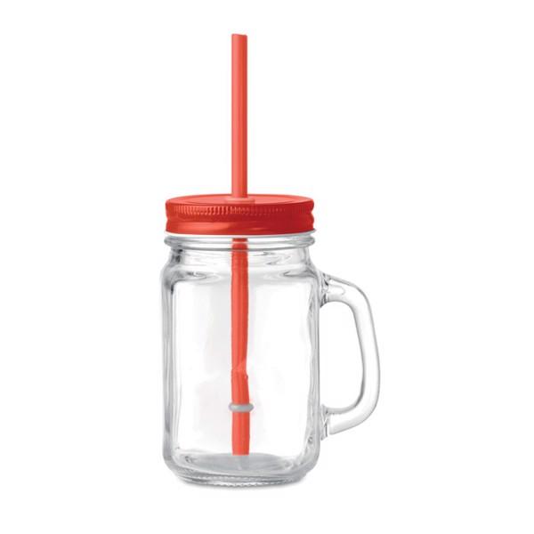 Glass Mason jar with straw Tropical Twist - Red