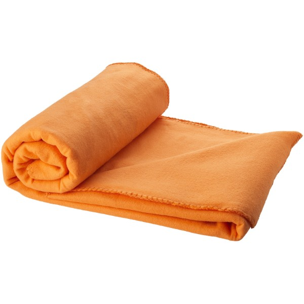 Huggy fleece plaid blanket with carry pouch - Orange