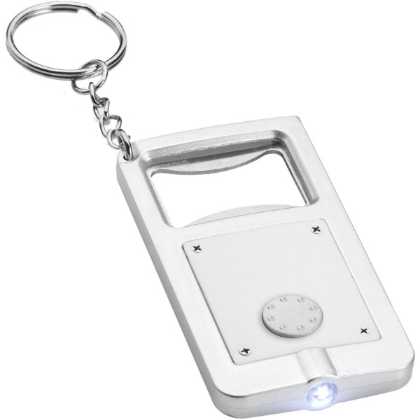 Klíčenková LED svítilna Orcus s otvírákem - Bílá / Stříbrný