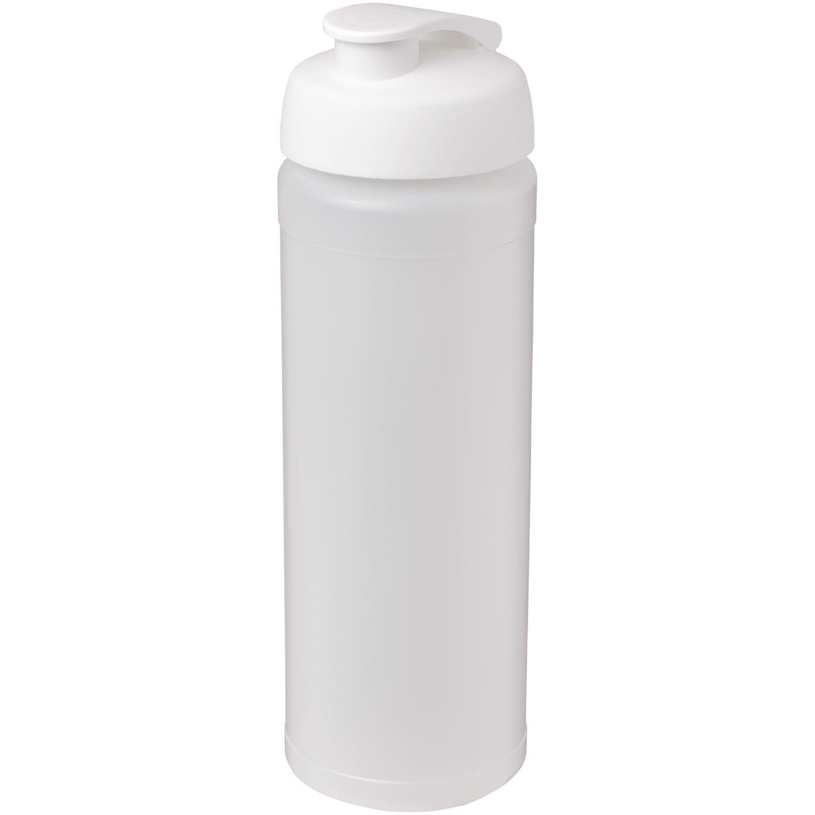 Sportovní láhev s vyklápěcím víčkem Baseline® Plus grip 750 ml - Průhledná / Bílá