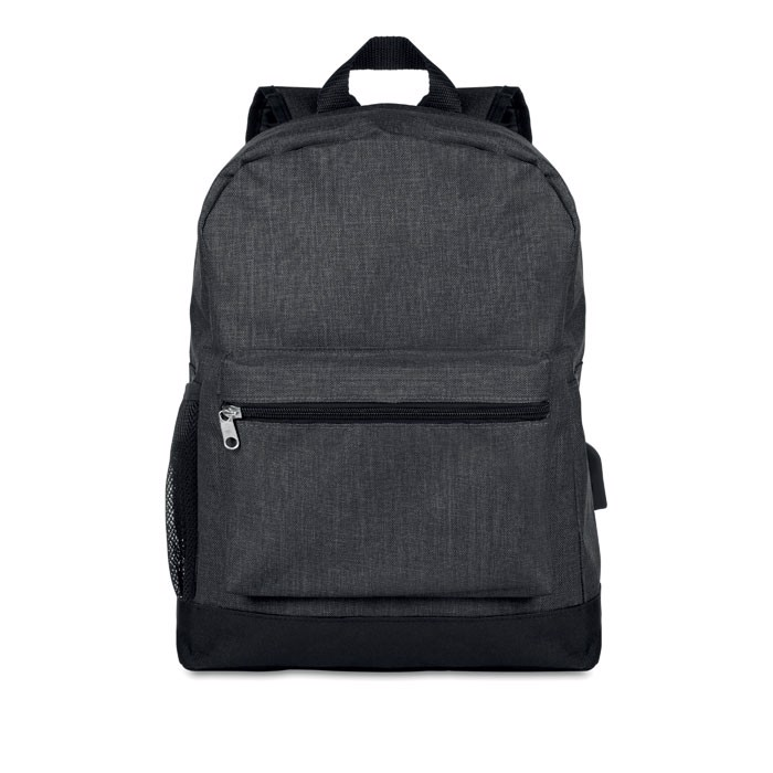 600D 2 tone polyester backpack Bapal Tone - Black