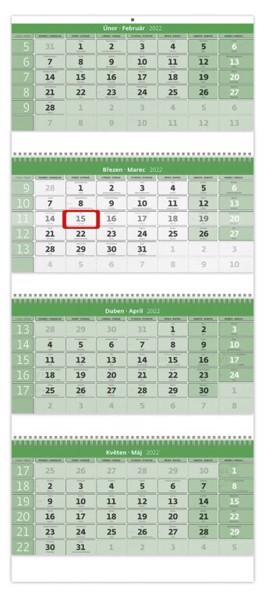 Čtyřměsíční kalendář GREEN na recyklovaném papíře 2022 - Green