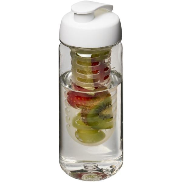Bidon Octave Tritan™ o pojemności 600 ml z wieczkiem zaciskowymz możliwością przyrządzania wody smakowej - Przezroczysty / Biały