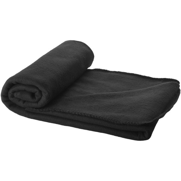 Huggy fleece plaid blanket with carry pouch - Solid black