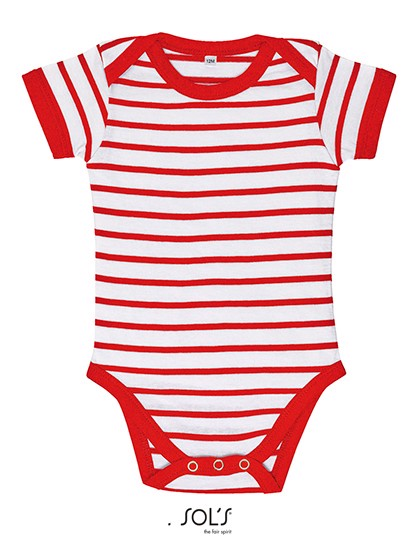 Baby Striped Bodysuit Miles - White / Red / 12-18 months
