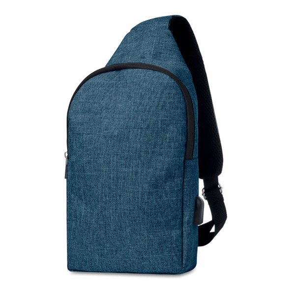 600D 2 tone polyester chest bag Momo - Blue