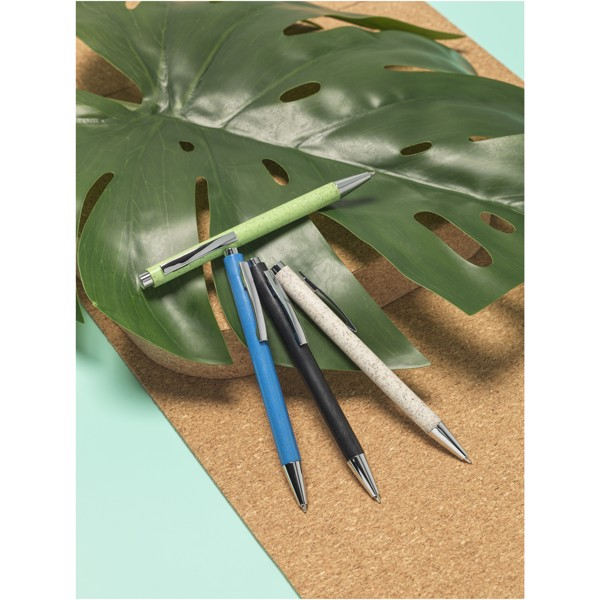 Tual wheat straw click action ballpoint pen - Solid Black