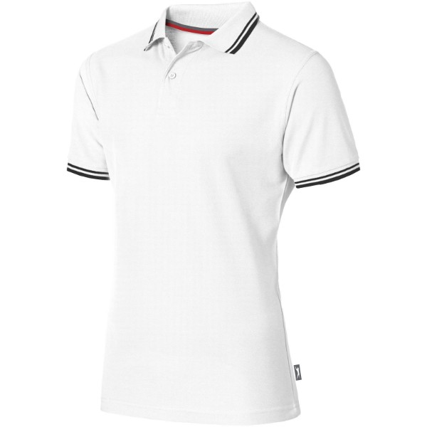 Deuce short sleeve men's polo with tipping - White / 3XL