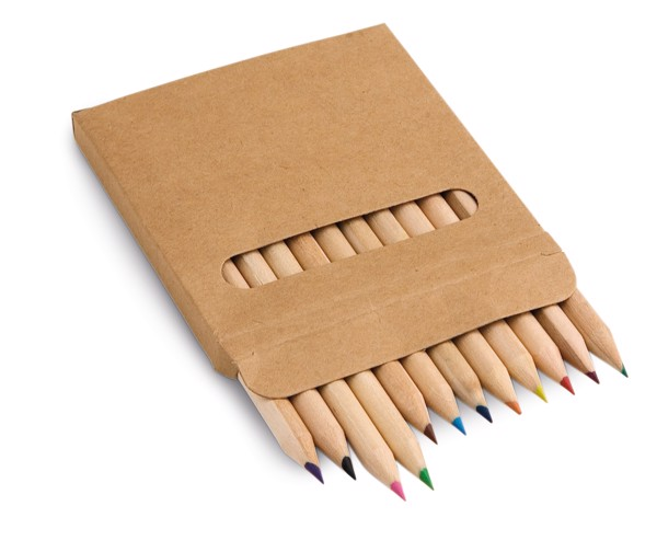 COLOURED. Pencil box with 12 coloured pencils