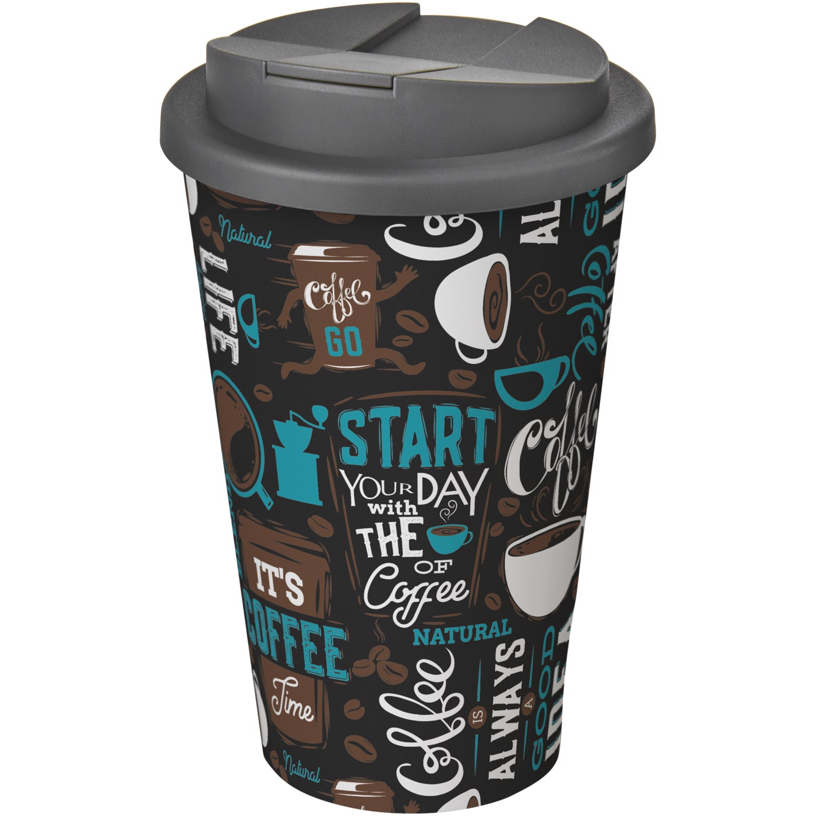Brite-Americano® 350 ml tumbler with spill-proof lid - White / Grey