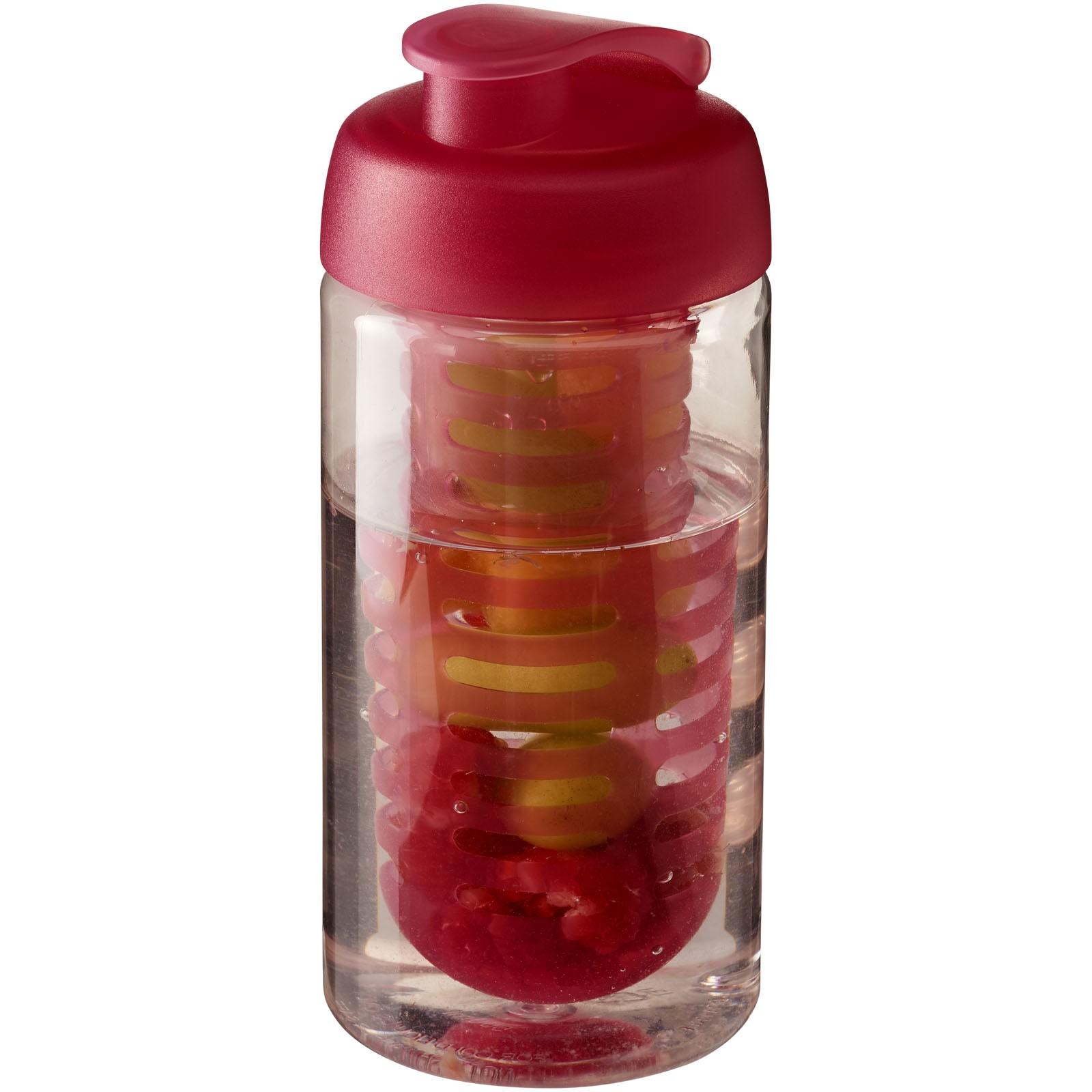 H2O Bop® 500 ml flip lid sport bottle & infuser - Transparent / Pink