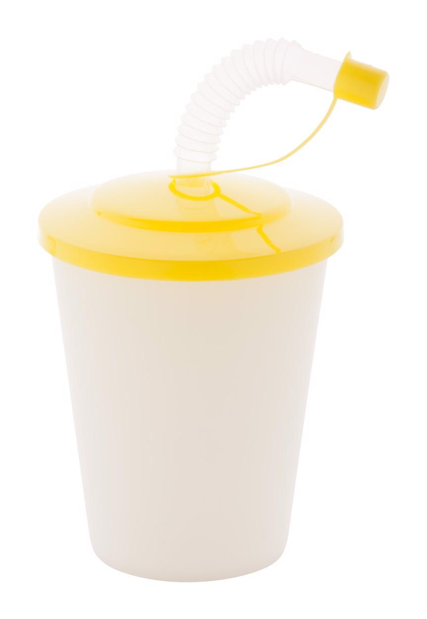 Uzavíratelný Plastový Pohárek Chico - Žlutá / Bílá