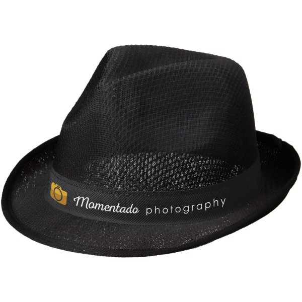 Trilby hat with ribbon - Solid black