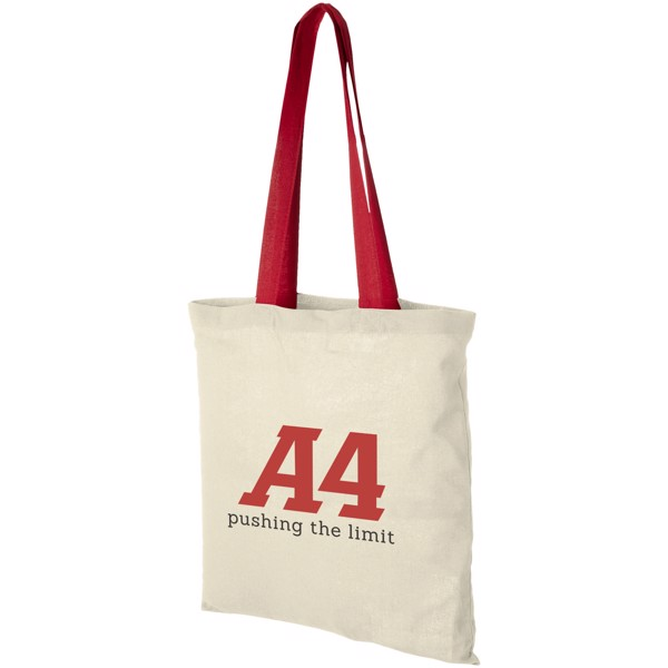 Nevada 100 g/m² cotton tote bag coloured handles - Natural / Red