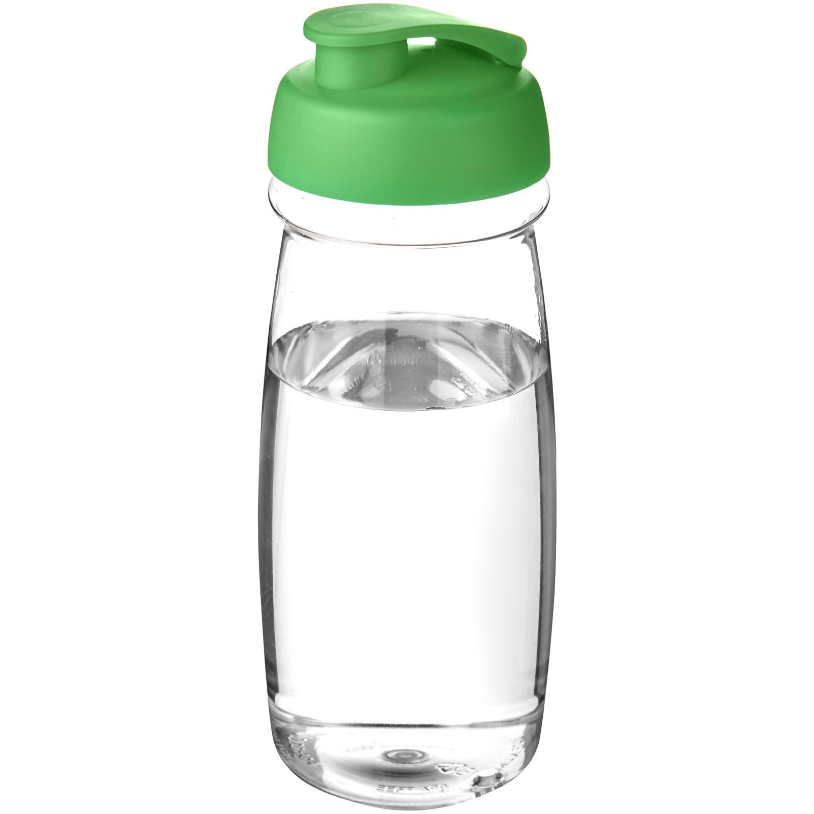 Sportovní láhev s vyklápěcím víčkem H2O Pulse® 600 ml - Průhledná / Zelená
