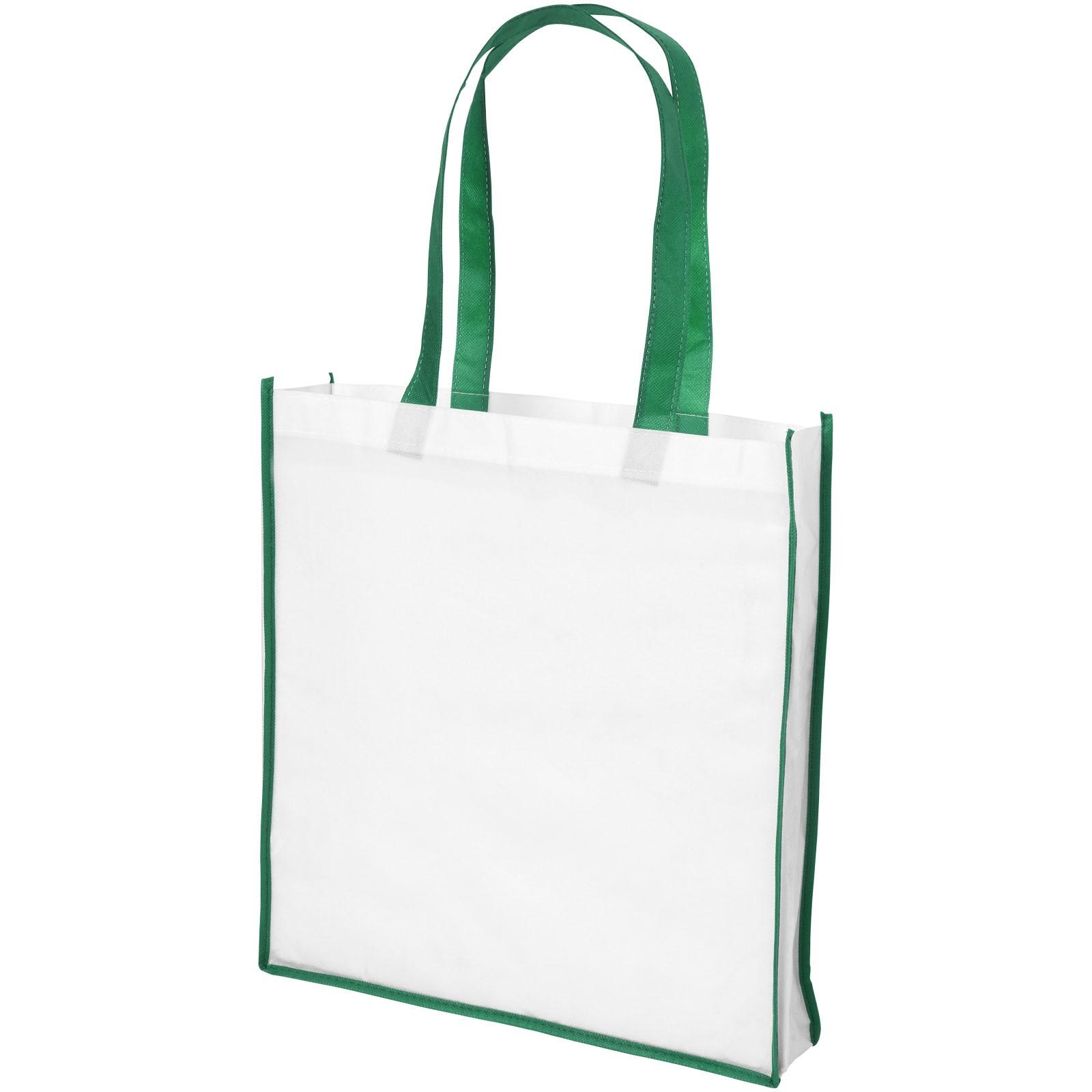 Velká netkaná nákupní odnoska Contrast - Bílá / Zelená