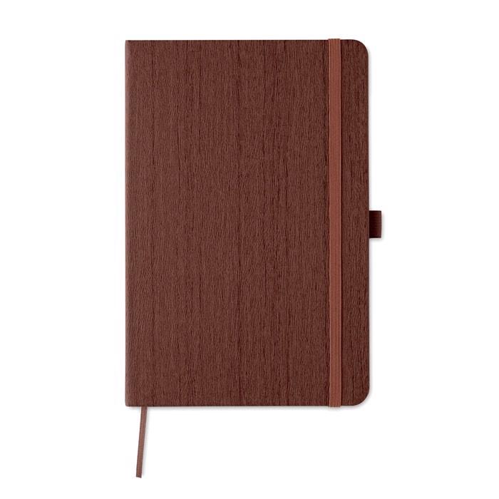A5 notebook in PU with penloop Woody - Brown