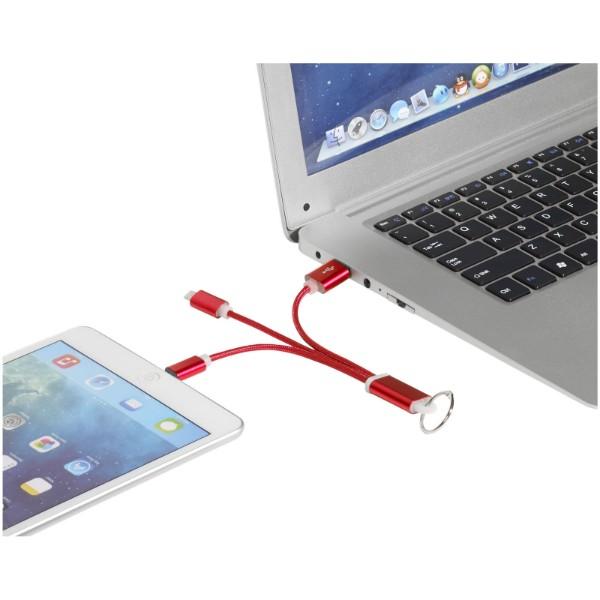 Kovový 3 v 1 nabíjecí kabel s kroužkem na klíče - Červená s efektem námrazy