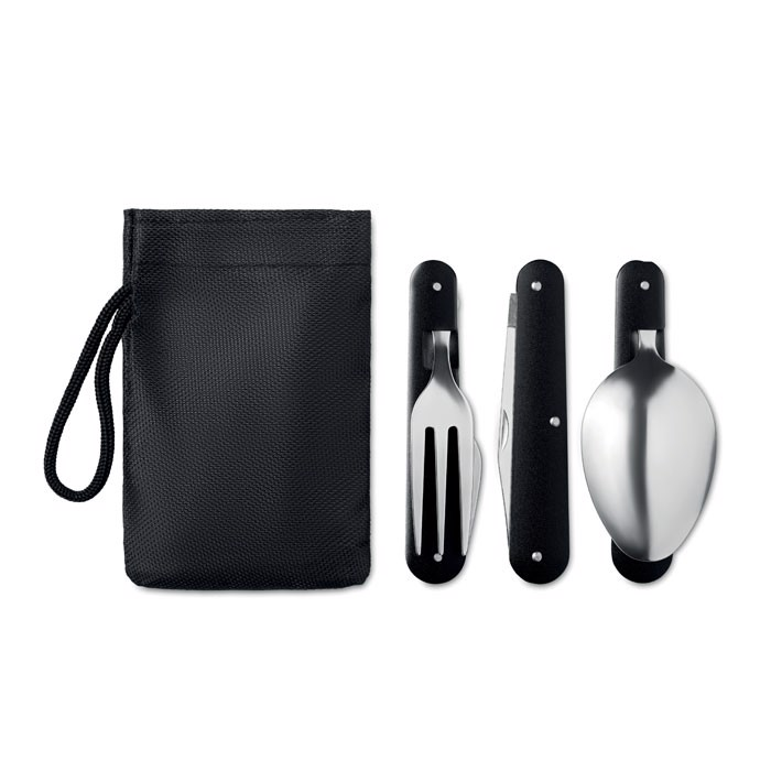 Camping SS cutlery set 3 Service - Black