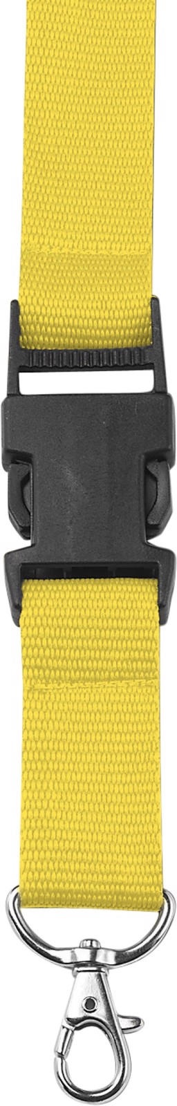 Polyester (300D) lanyard and key holder - Yellow
