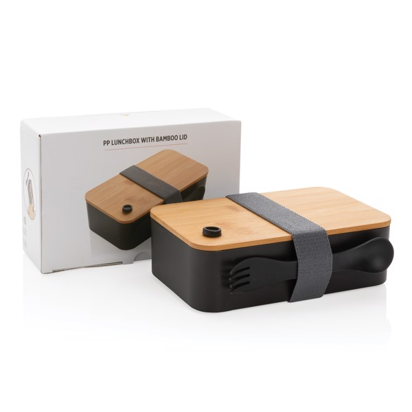 PP lunchbox with bamboo lid & spork