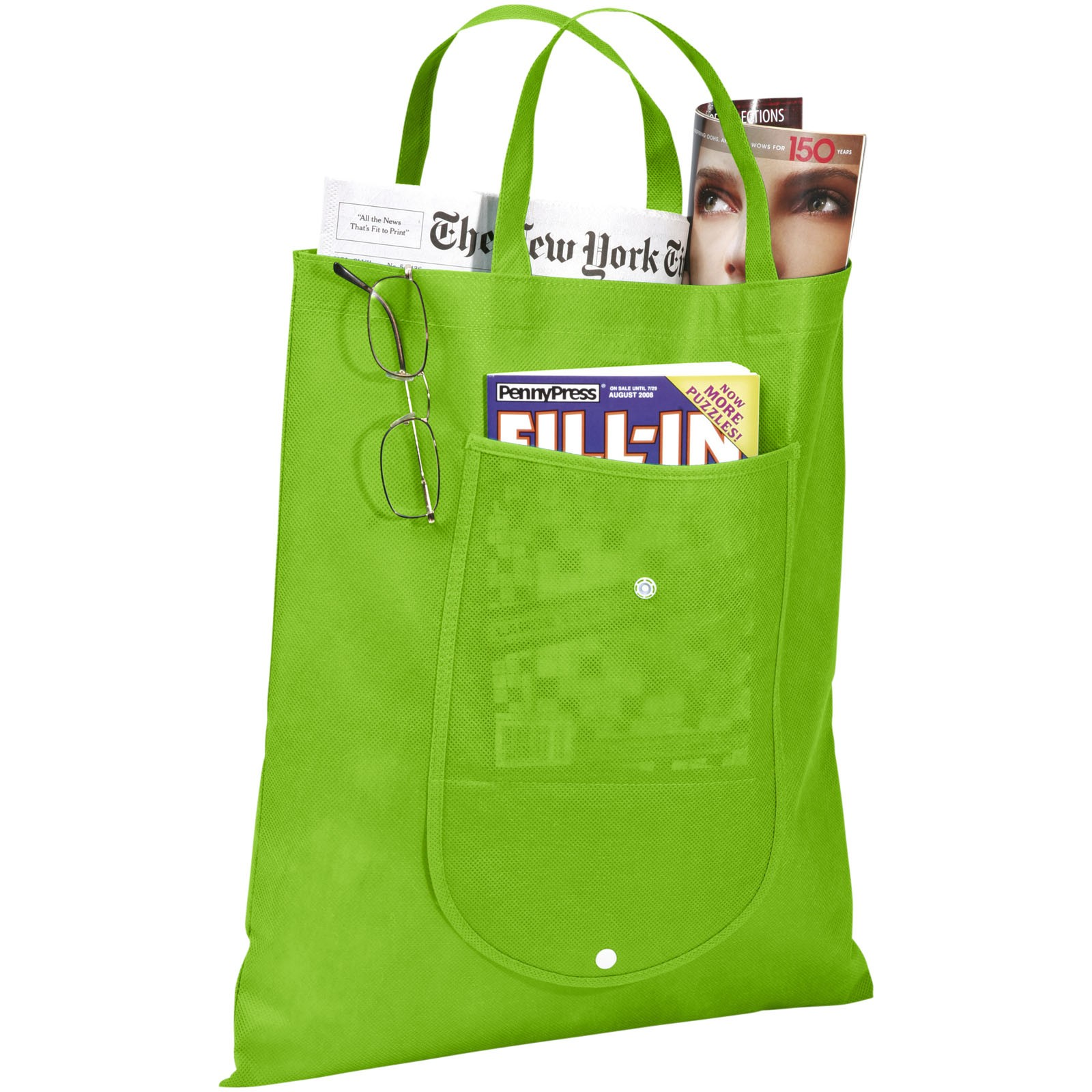 Maple buttoned foldable non-woven tote bag - Lime