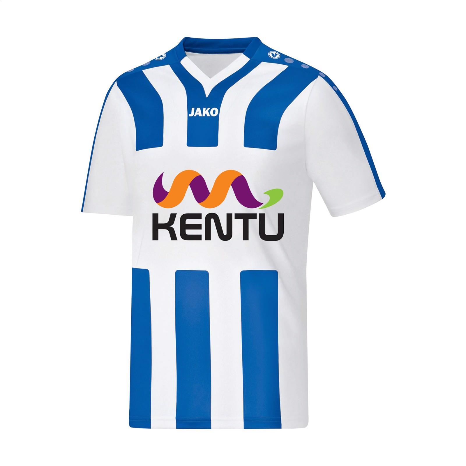 Jako® Shirt Santos KM mens sportshirt - White / Royal Blue / S