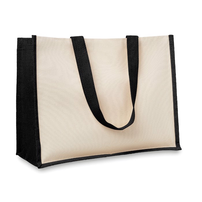 Jute and canvas shopping bag Campo De Fiori - Black