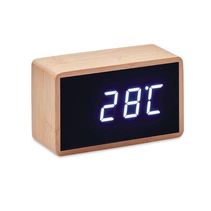 LED budilka z bambusovim ohišjem Miri Clock