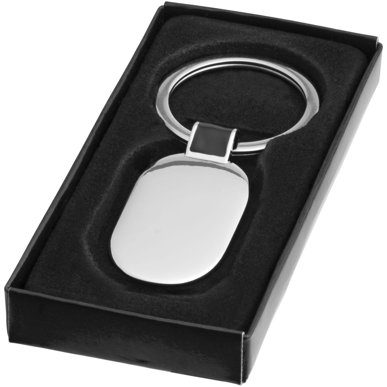 Barto ovaler Schlüsselanhänger - schwarz / silber