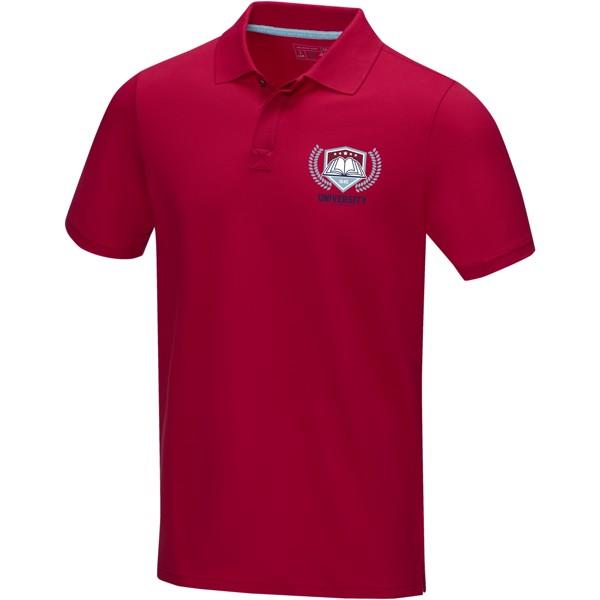 Graphite short sleeve men's GOTS organic polo - Red / XS