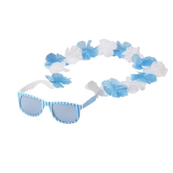 "Fun Glasses ""Bavaria"" With Flower Chain - White / Blue"