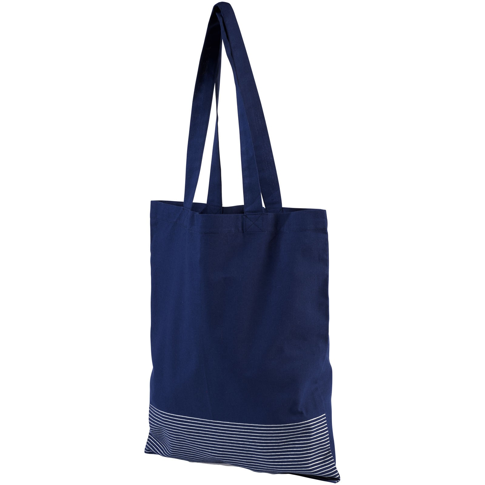 Aylin 140 g/m² silver lines cotton tote bag - Navy