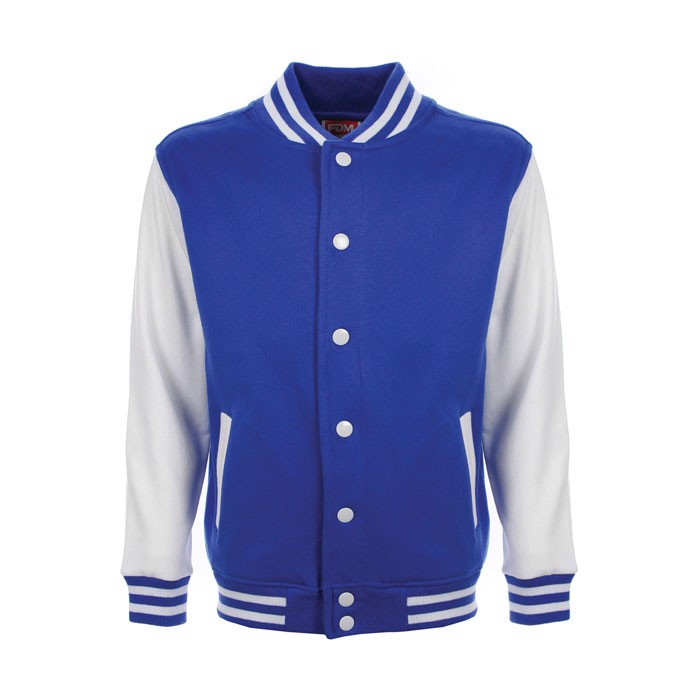 Kinder Sweatshirt 300 g/m2 Junior Varsity Jacket Fv002 - Royal/ Weiß / XXL