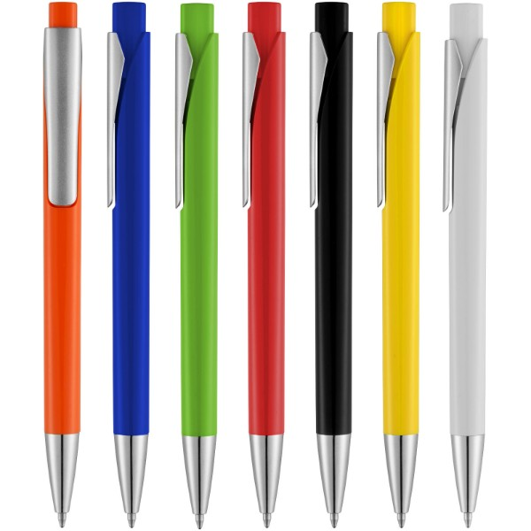 Pavo ballpoint pen with squared barrel - White