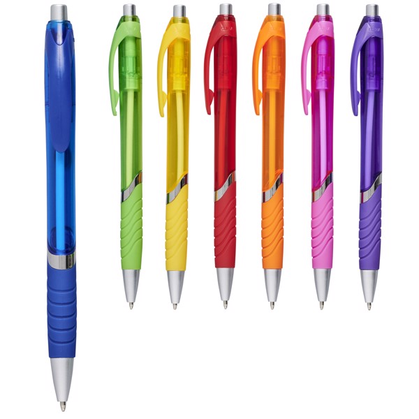 Průsvitné kuličkové pero Turbo s pryžovým úchopem - Purpurová
