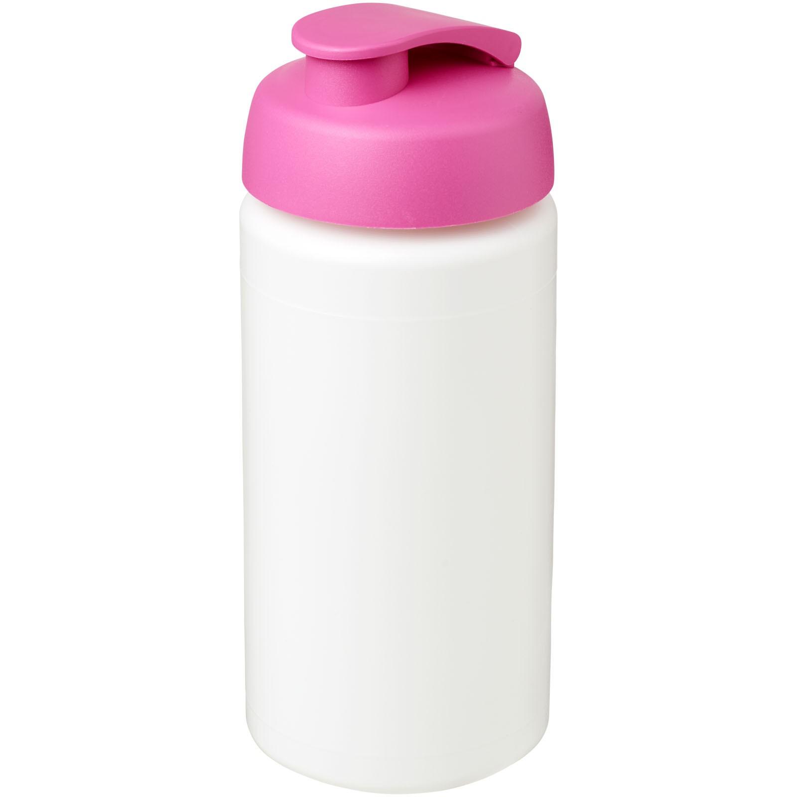 Sportovní láhev s vyklápěcím víčkem Baseline® Plus grip 500 ml - Bílá / Růžová