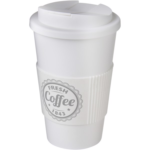 Americano® 350 ml tumbler with grip & spill-proof lid - White