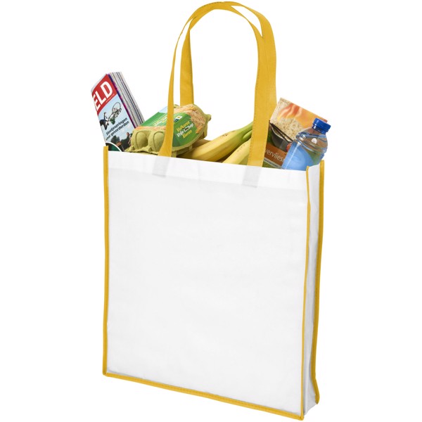 Contrast large non-woven shopping tote bag - White / Yellow