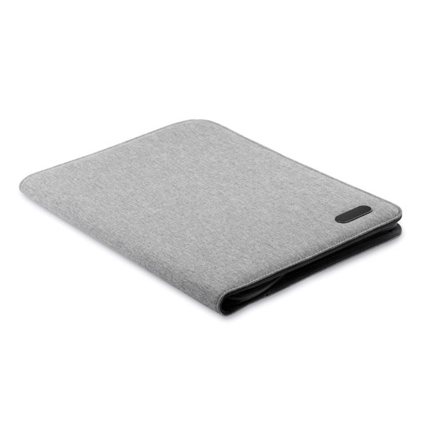 A4 zip portfolio in polyester Notes Folder - Grey