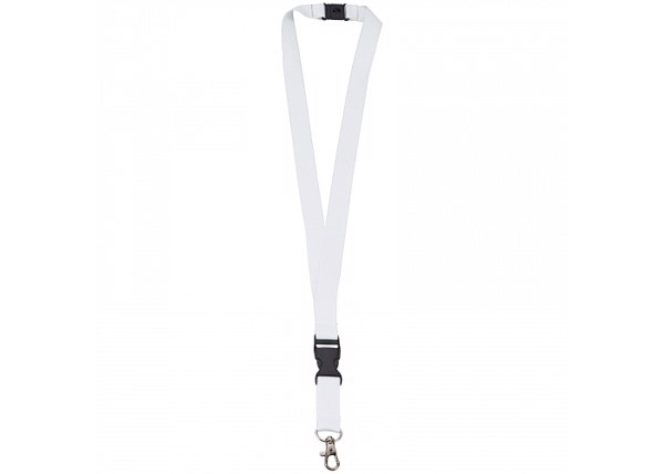 Polyester lanyard 20mm with buckle and hook - White