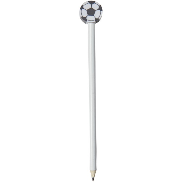 Goal pencil with football-shaped eraser - White
