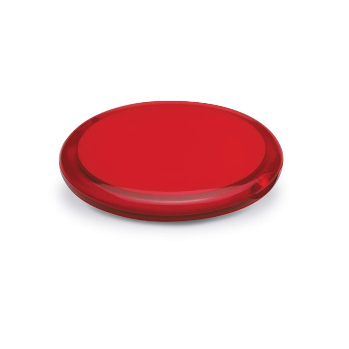 Rounded double compact mirror Radiance - Transparent Red