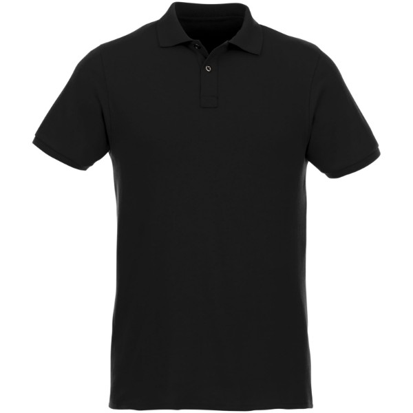 Beryl short sleeve men's GOTS organic GRS recycled polo - Solid black / XS