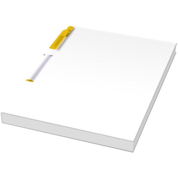 Essential konferenční sada poznámkového bloku A6 a pera - Bílá / Žlutá