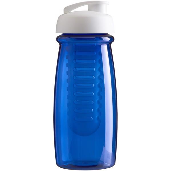 Sportovní láhev s infuzérema vyklápěcím víčkem H2O Pulse® 600 ml - Transparent Blue / White Solid